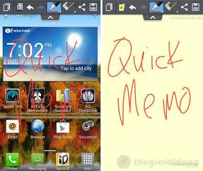 LG Optimus L7 II cũng tích hợp ứng dụng Quick Memo