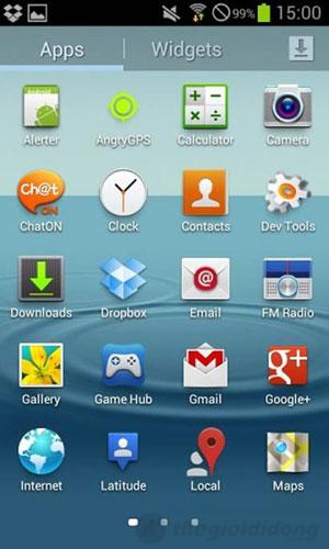 Khay ứng dụng trên Samsung Galaxy Trend S7560