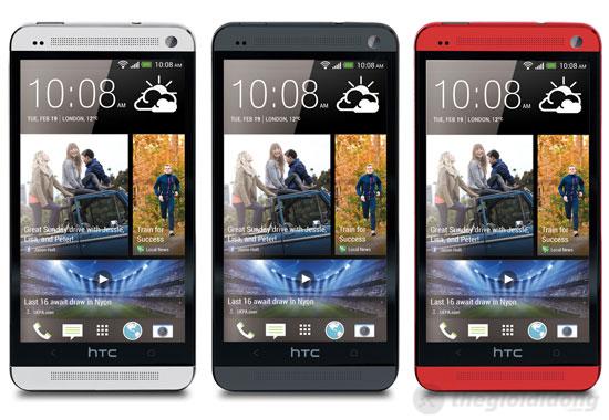 HTC One với 3 màu đen, đỏ, trắng