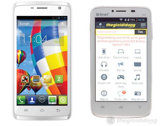 Đối thủ của Touch Lai 502 HD là Q-Smart S25(bên phải)