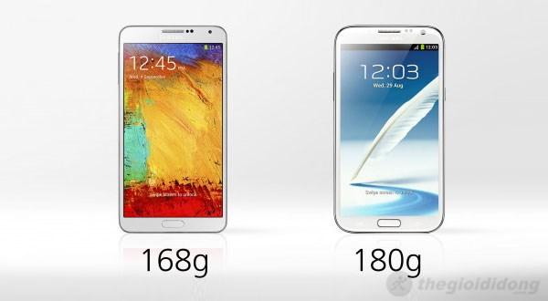 Note 3 (bên trái) có màn hình rộng hơn nhưng lại nhẹ hơn Note 2