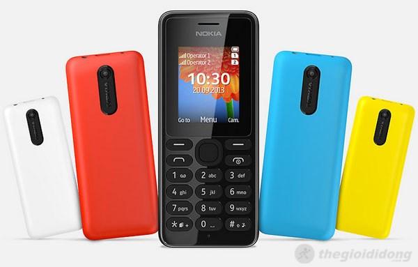 Nokia 108 có nhiều màu sắc trẻ trung năng động, tương tự dòng Nokia Lumia