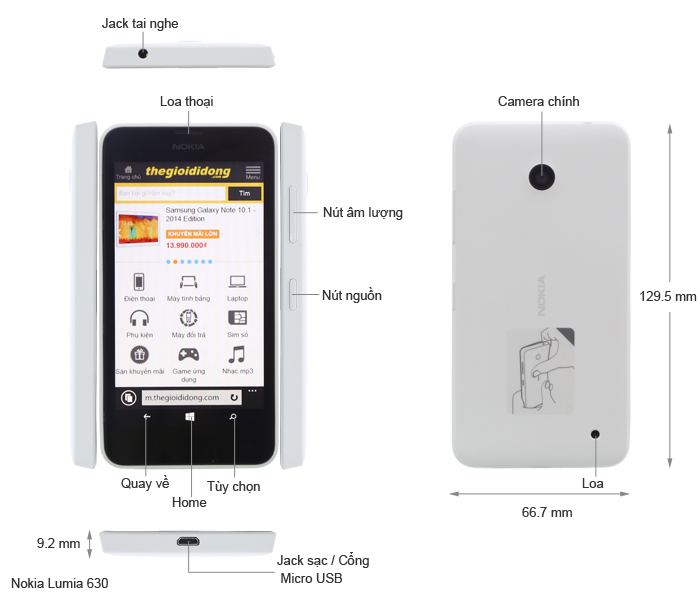 Thông số kỹ thuật Nokia Lumia 630