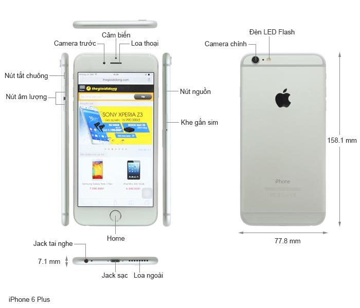 Thông số kỹ thuật iPhone 6 Plus 16GB