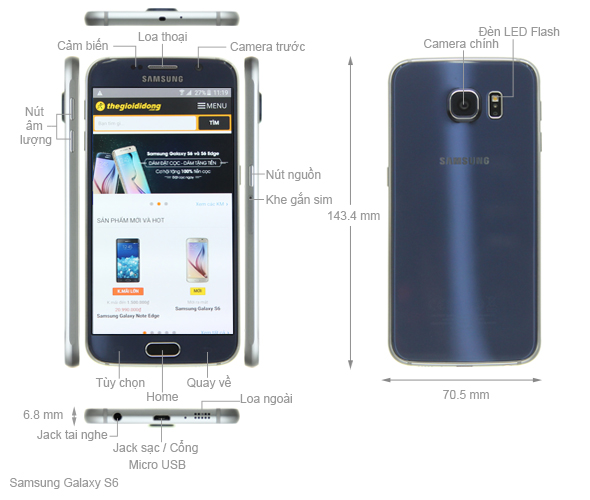 Thông số kỹ thuật Samsung Galaxy S6 32GB