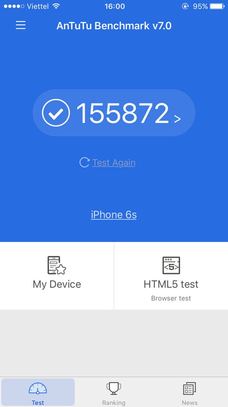 Điểm Antutu Benchmark iPhone 6s Plus