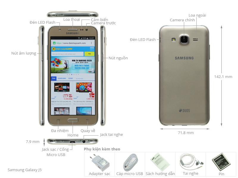 Thông số kỹ thuật Điện thoại Samsung Galaxy J5