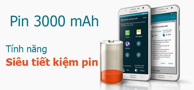 Dung lượng pin 3000 mAh của điện thoại Samsung Galaxy J7
