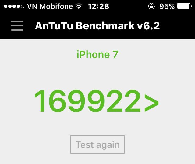 Điểm Antutu Benchmark trên chiếc điện thoại iPhone 7