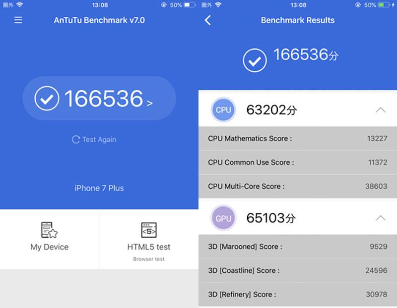 Điểm Antutu Benchmark của điện thoại iPhone 7 Plus