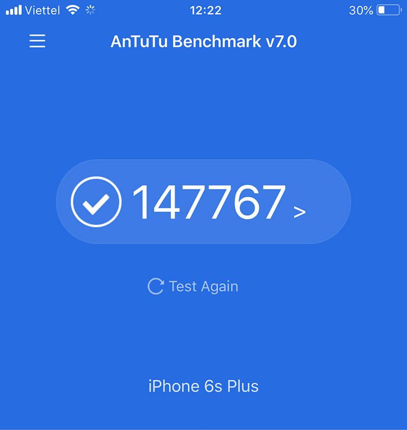 Điểm Antutu Benchmark trên iPhone 6s Plus