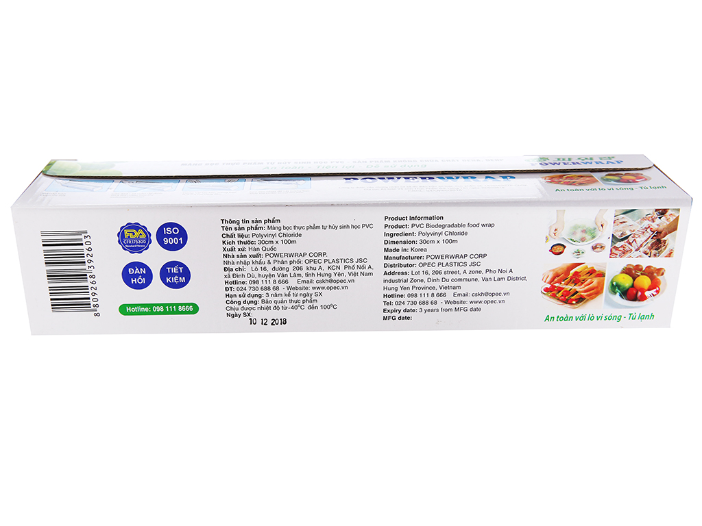 Màng bọc thực phẩm tự huỷ sinh học PVC Green Eco 30cm x 100m 2