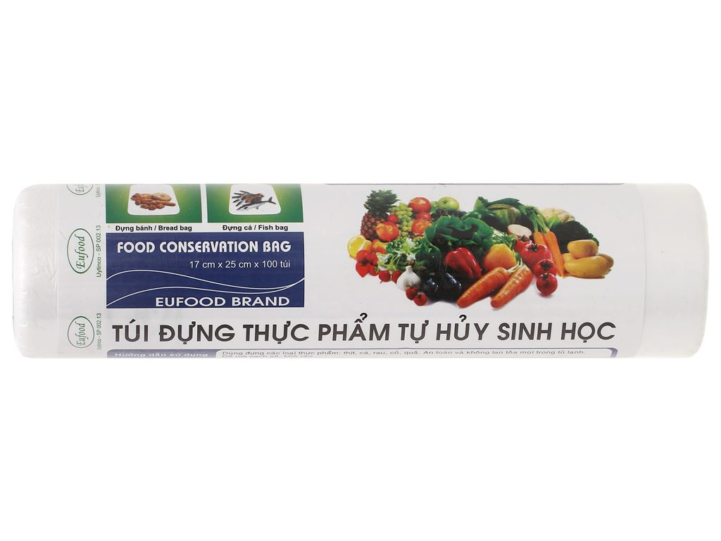 Túi đựng thực phẩm tự huỷ sinh học Eufood 17 x 25cm (100 túi) 1