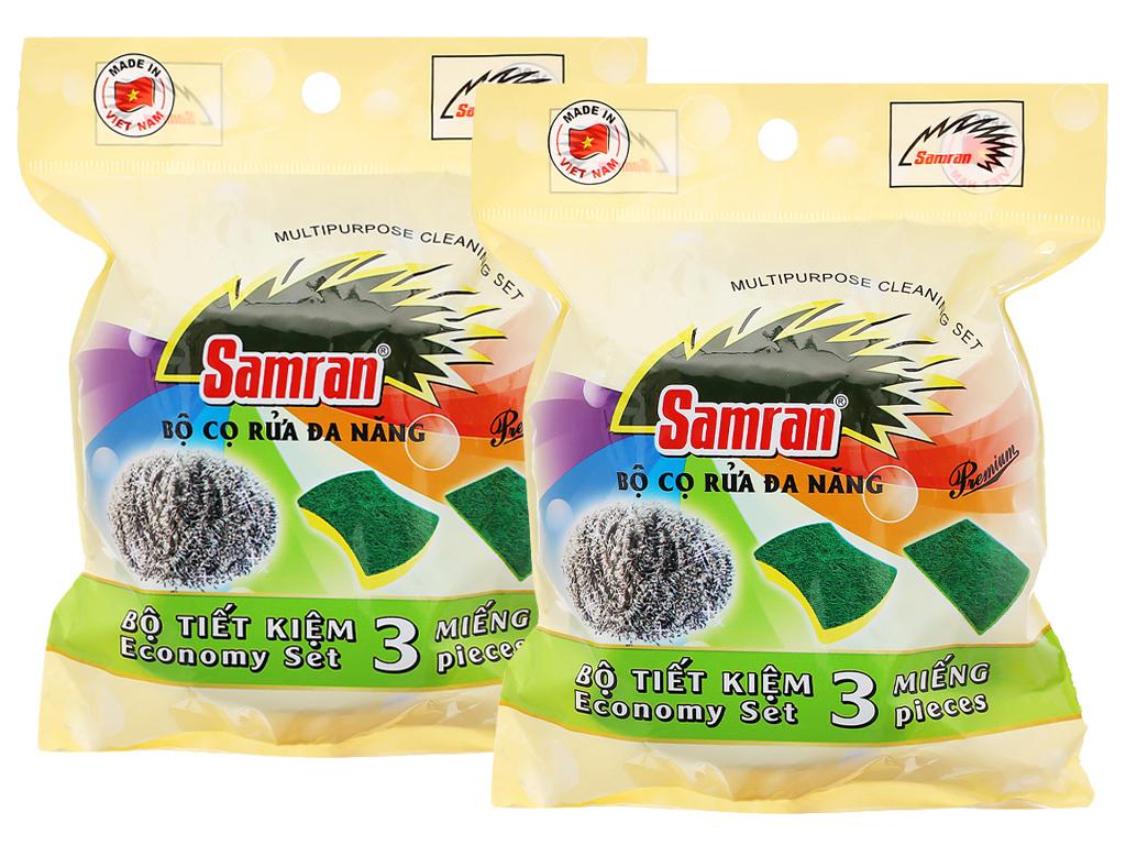 Bộ combo 2 bịch cọ rửa đa năng Samran (3 miếng/bịch) 1