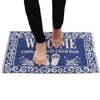 Thảm chùi chân cotton 50x30cm Ohi@ma HMIW3050 in welcome xanh dương