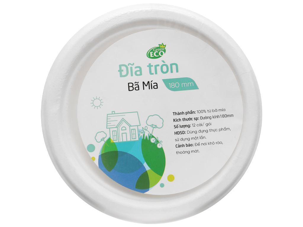 Dĩa tròn bã mía Green Eco 18cm (12 cái) 1