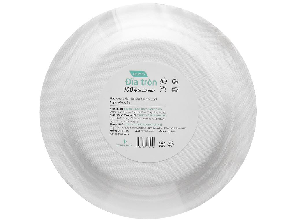 Dĩa tròn bã mía Green Eco 18cm (12 cái) 2
