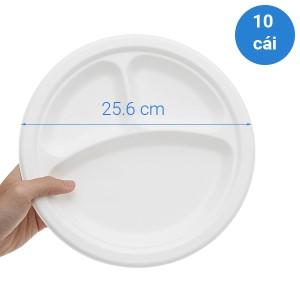 Dĩa bã mía 3 ngăn phân huỷ sinh học Kokusai 25.4cm (10 cái)