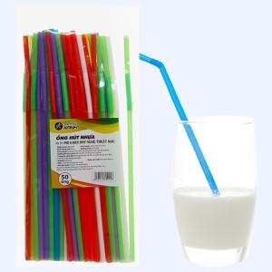 Ống hút cong nhựa PP nhiều màu Bách Hoá Xanh 27cm (50 cái)