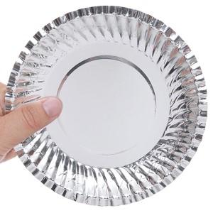 10 dĩa giấy phủ bạc Hunufa 16cm
