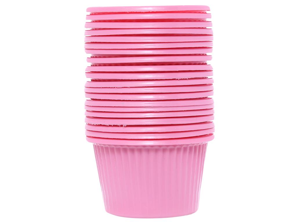 20 chén chấm nhựa PP Hunufa màu hồng 5cm 1