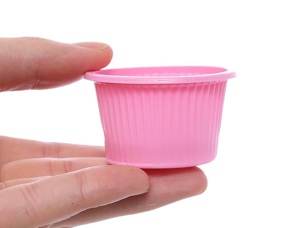 20 chén chấm nhựa PP Hunufa màu hồng 5cm 5
