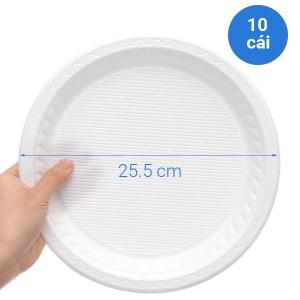 Dĩa nhựa PS tròn Hunufa 25cm (10 cái)