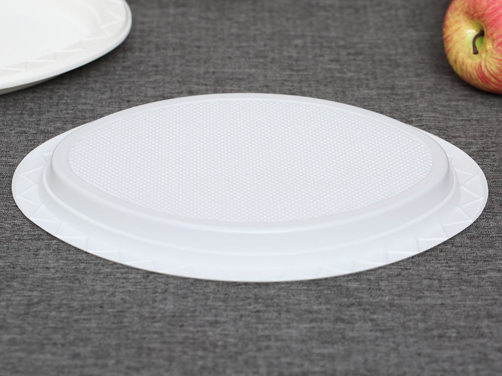 10 đĩa nhựa PS Hunufa kiểu oval 31.5cm 3