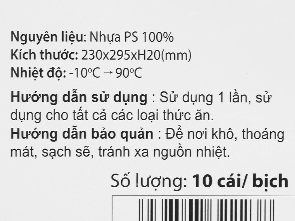 10 đĩa nhựa PS Hunufa kiểu oval 31.5cm 6