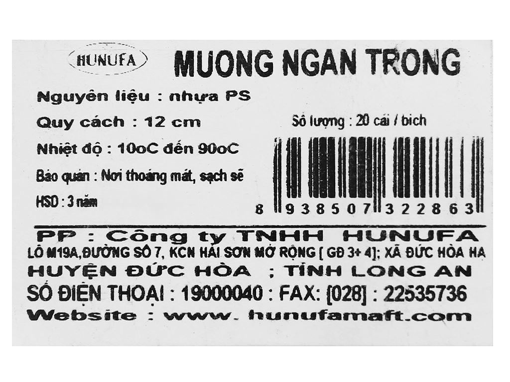 Muỗng nhựa trong ăn bánh kem Hunufa 15.5cm (20 cái) 5