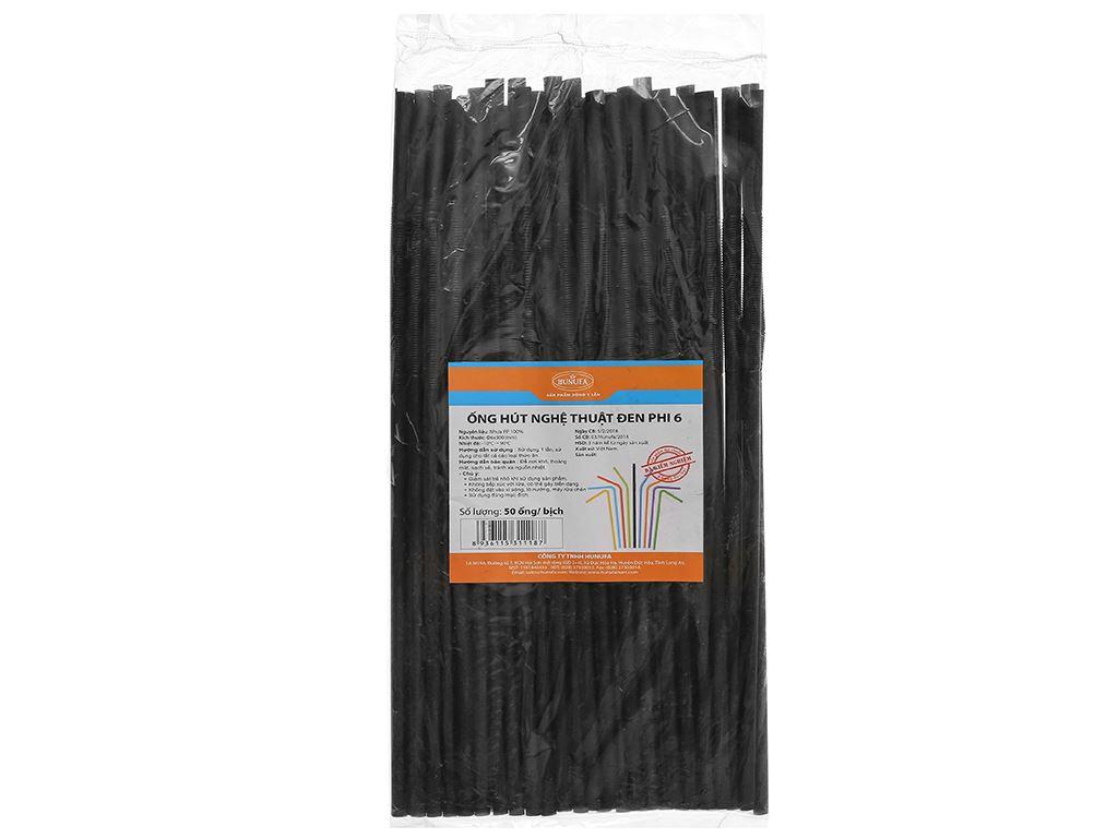 Ống hút nhựa PP đen cong Hunufa 30cm (50 cái) 1