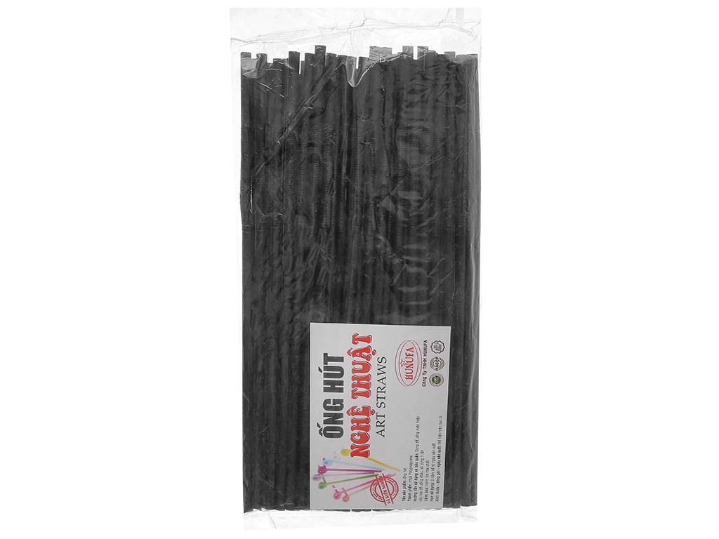 Ống hút nhựa PP đen cong Hunufa 30cm (50 cái) 2