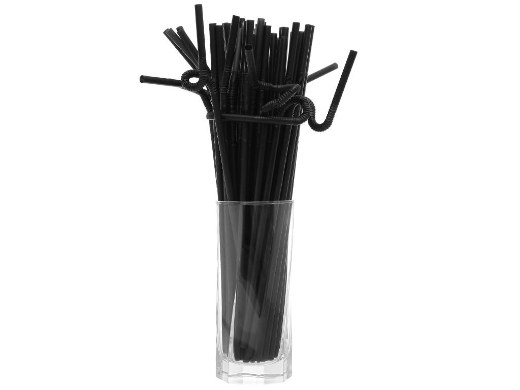 Ống hút nhựa PP đen cong Hunufa 30cm (50 cái) 3