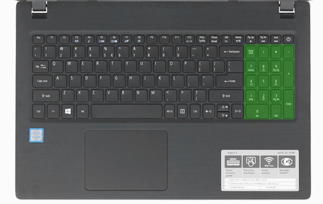 Acer Aspire A315 51 52AB i5 7200U - Bổ sung cụm bàn phím số bên tay phải rất tiện dụng