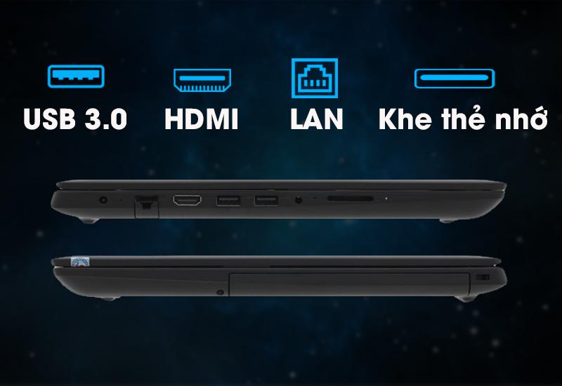 Đầy đủ các cổng kết nối cơ bản trên laptop văn phòng Lenovo IdeaPad 130 14IKB (81H60017VN)