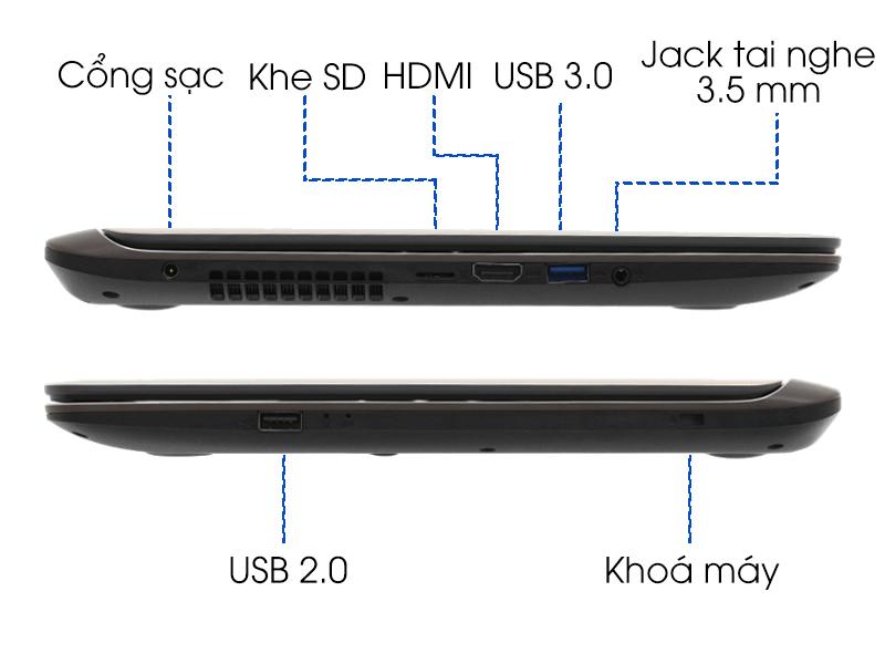 Cổng kêt nối trên Laptop nhỏ gọn Asus X407UA