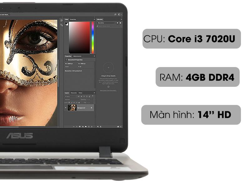 Cấu hình xử lý photoshop cơ bản trên Laptop nhỏ gọn Asus X407UA