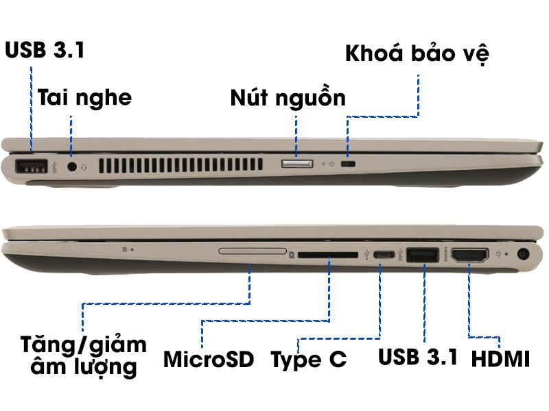 Cổng kêt nối trên laptop 2 trong 1 HP Pavilion x360 cd0082TU