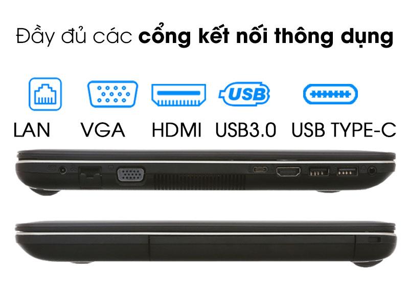 Đa dạng cổng kết nối trên Laptop Asus X441MA N5000