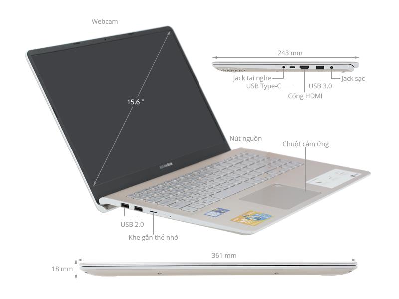 Laptop Asus Vivobook S15 S530UA i5 8250U/4GB/1TB+16GB/Win10