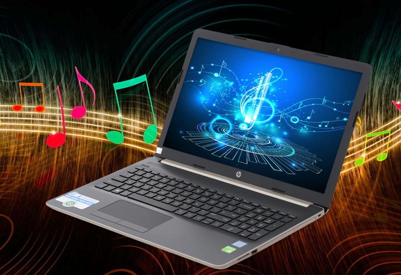 Nghe nhạc đỉnh cao trên Thiết kế hài hoà trên laptop văn phòng HP 15 da0443TX i3 (5SL06PA)