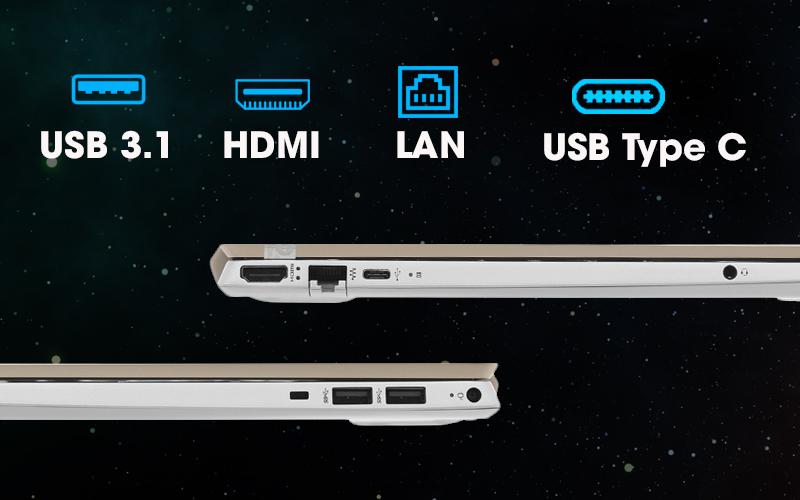 Đầy đủ các cổng kết nối trên máy tính xách tay văn phòng HP Pavilion 15 cs1009TU i5 (5JL43PA)