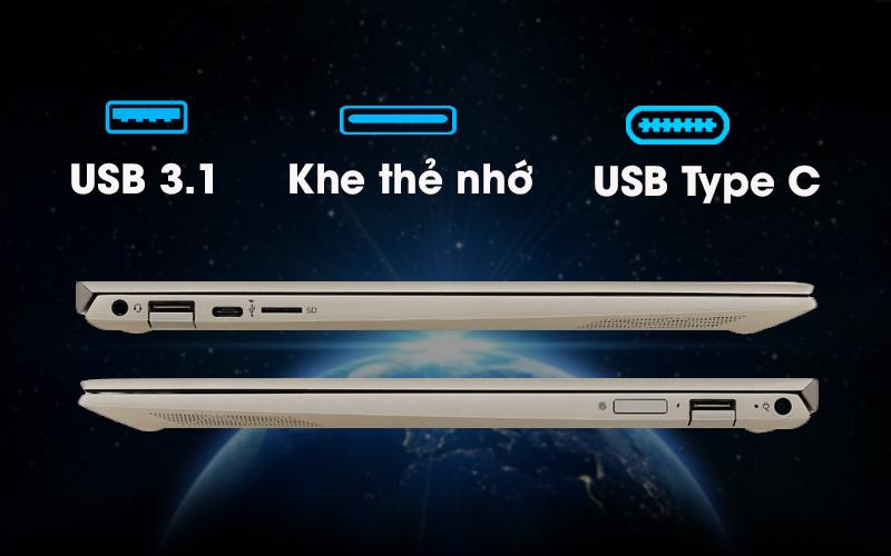 Cổng kết nối hiện đại trên laptop đồ hoạ kĩ thuật HP Envy 13 ah1011TU (5HZ28PA)
