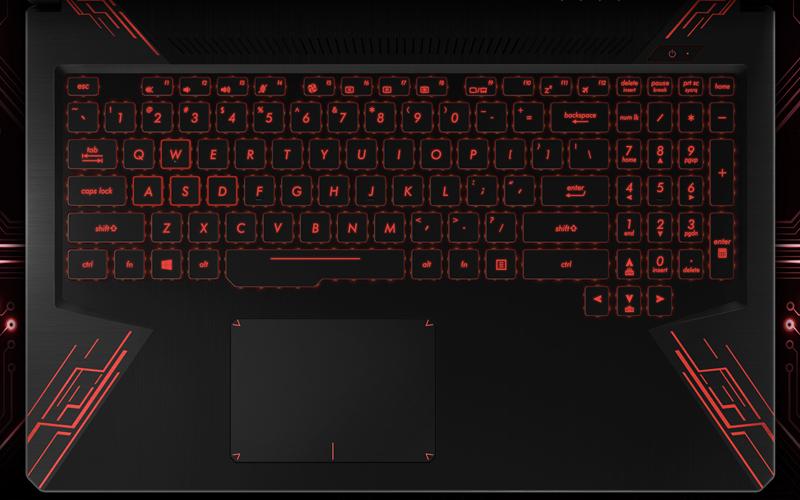 Đèn nền bàn phím với tôn màu mạnh mẽ trên laptop gaming Asus Core i5 FX504GE (E4138T)