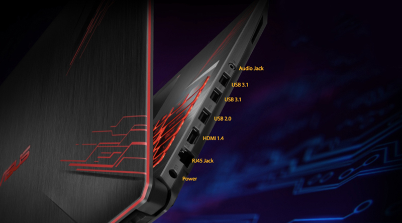 Đầy đủ cổng kết nối trên laptop gaming Asus Core i5  FX504GE (E4138T)