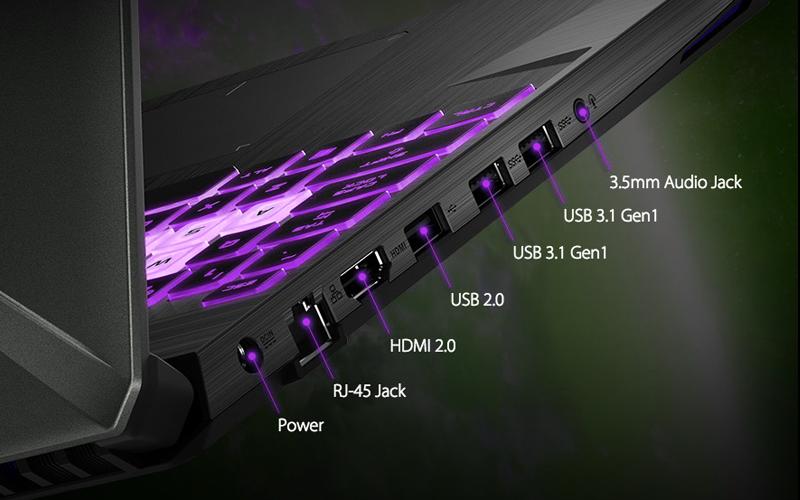 Đầy đủ các cổng kết nối trên laptop gaming Asus FX505GE (BQ037T)