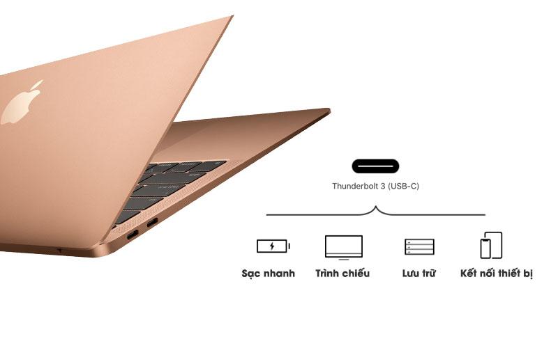 Cổng type C chuẩn Thunderbolt 3 đầy đủ chức năng trên laptop nhỏ gọn Macbook Air MREE2SA/A (2018)