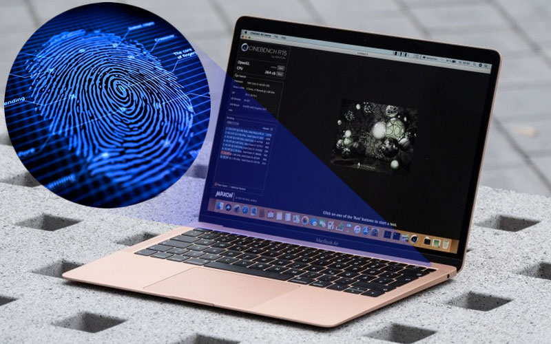 Cảm biến vân tay trên nút nguồn trên laptop nhỏ gọn Macbook Air MREE2SA/A (2018)