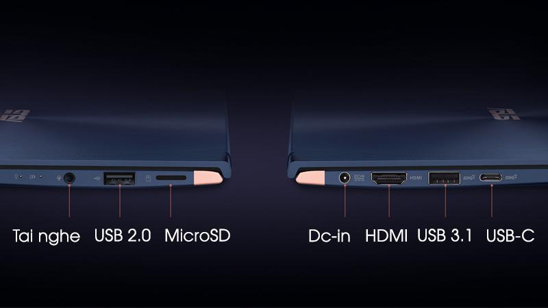 Đầy đủ các cổng kết nối trên laptop nhỏ gọn Asus Zenbook UX433FA i7 (A6076T)