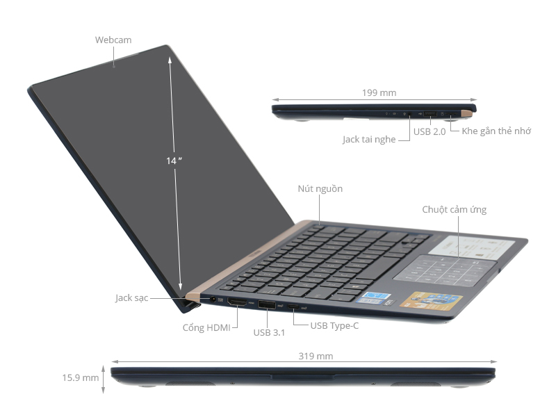 ASUS ZenBook UX433FA Core i5 8265u/8G/256 SSD/14in FullHD, còn BH 21th - 4